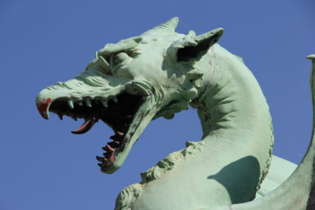 dragon head, bronze, dragon, sculpture, blue sky, statue, animal, outdoor