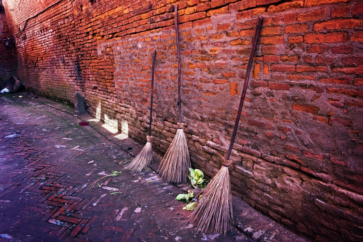 old, wall, broom, tool, garbage, ground, brick, outdoor