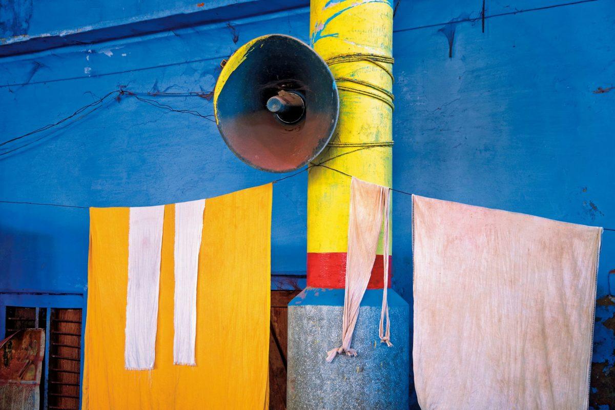 pillar, metal, loudspeaker, street, fabric, colored