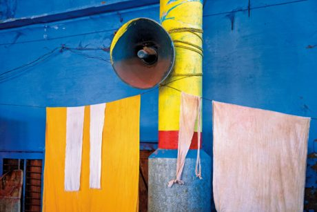 pillar, metal, loudspeaker, street, fabric, colored