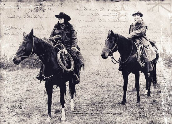 animal, people, cavalry, horse, saddle, history, monochrome, sepia, cowboy, woman