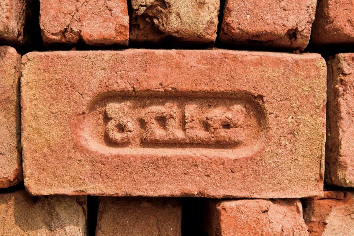 Ceglana ściana, glina, ściana, tekstura, stary, antyczny, architektura