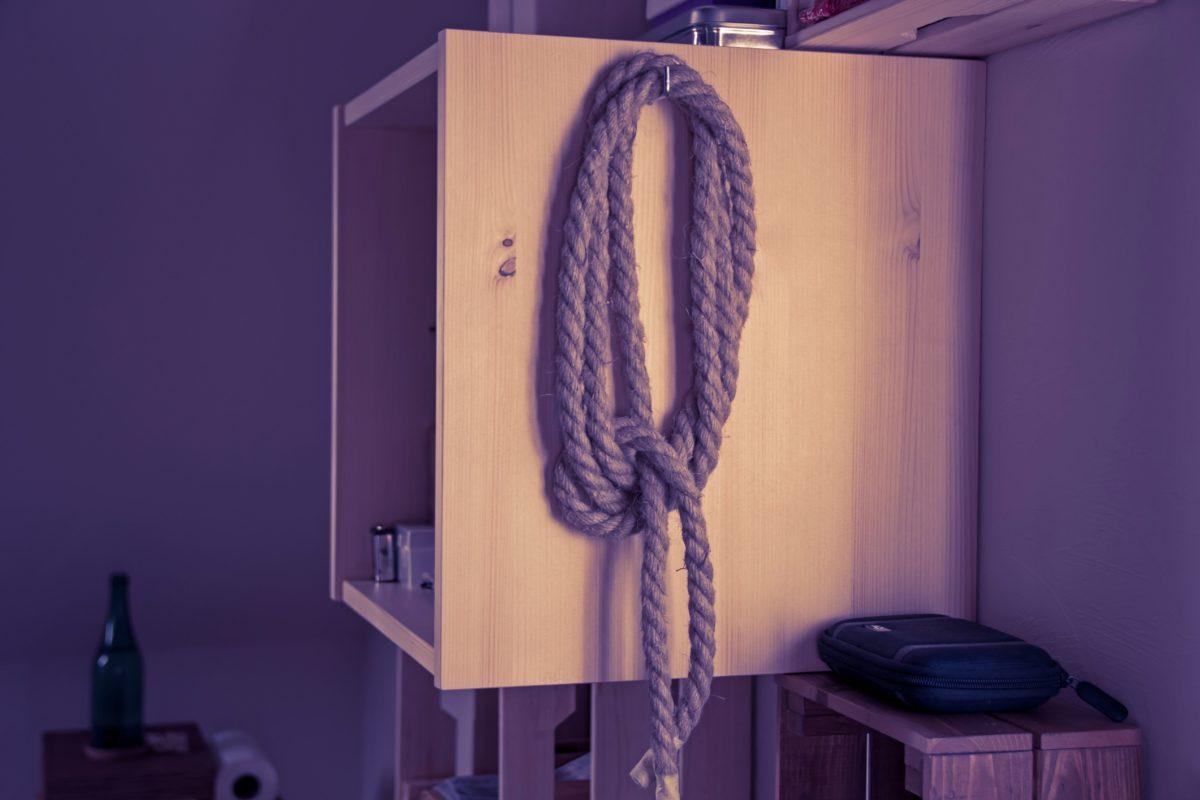 furniture, room, closet, rope, wall, indoor, house, shadow