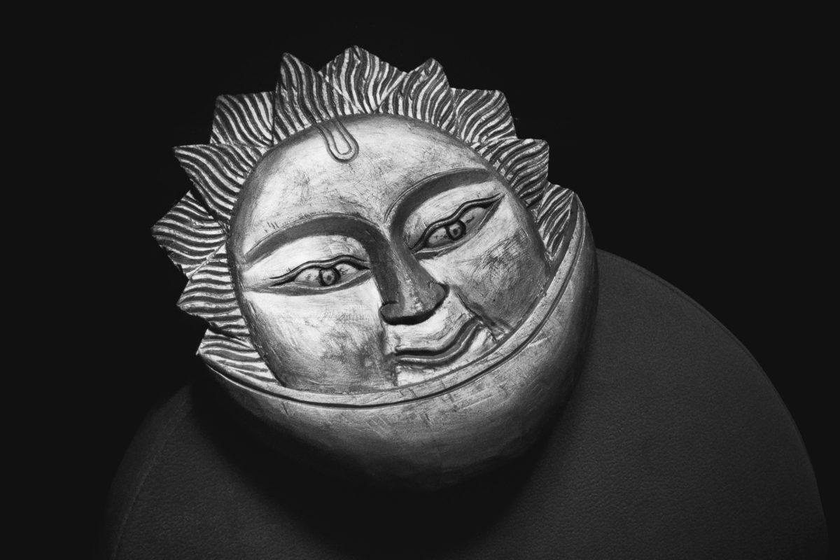 metal mask, art, head, religion, monochrome, object, face, sun, eyes