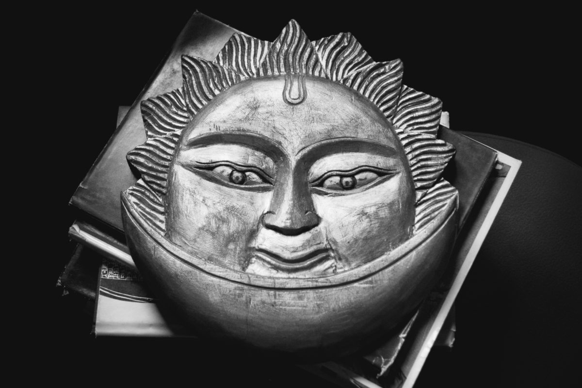 mask, art, face, sun, eyes, sculpture, metal, object, head, religion