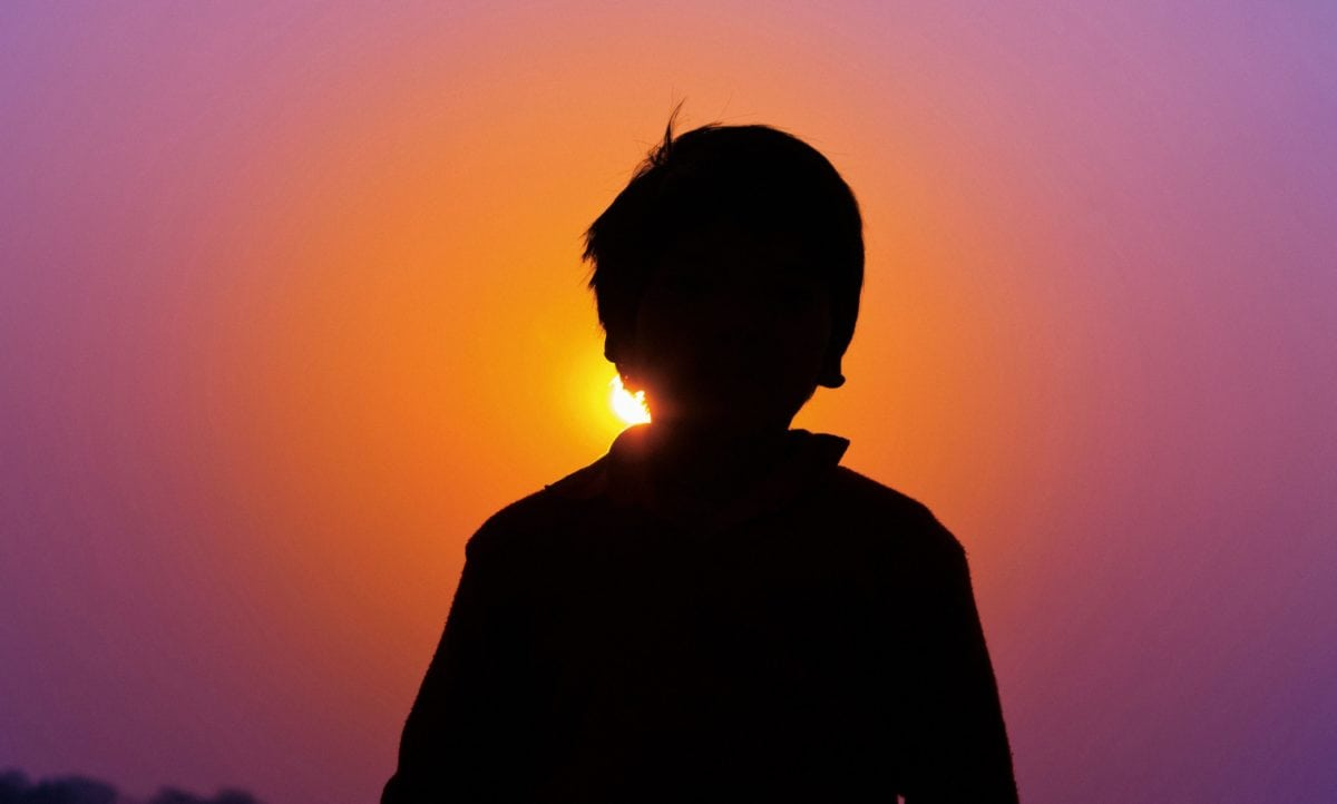 хора, залез, слънце, небе, силует, сянка