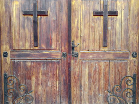 entrance, doorknob, front door, doorway, old, wood, gate, cross