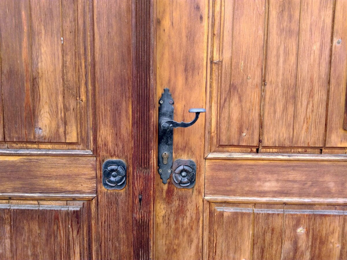 přední dveře, vchod, dřevěné, tesařské, starožitné, nábytek, dřevo, západka