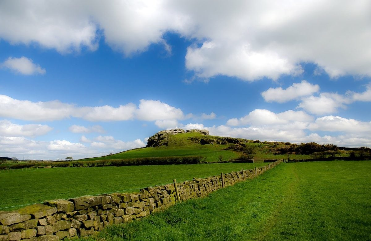 nature, landscape, blue sky, grass, field, fence, agriculture, cloud, stone wall