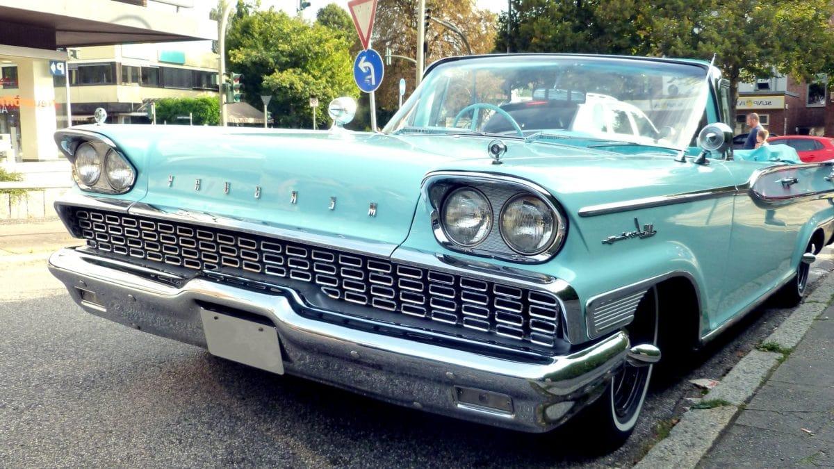 vehicle, classic car, automobile, asphalt, street, headlight, car bumper