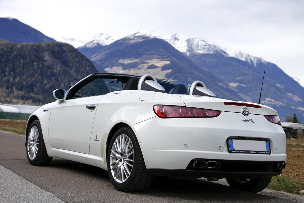 coupe car, vehicle, convertible, expensive automobile, transportation, mountainside