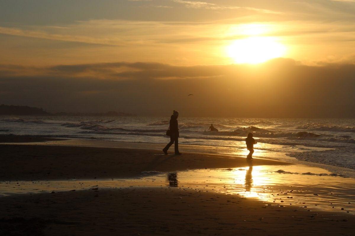 zalazak sunca, plaža, ljudi, more, sunce, voda, zora, sumrak, plaža, ocean, pijesak, silueta