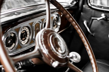 old timer car, wheel, vehicle, drive, chrome, control, mechanism