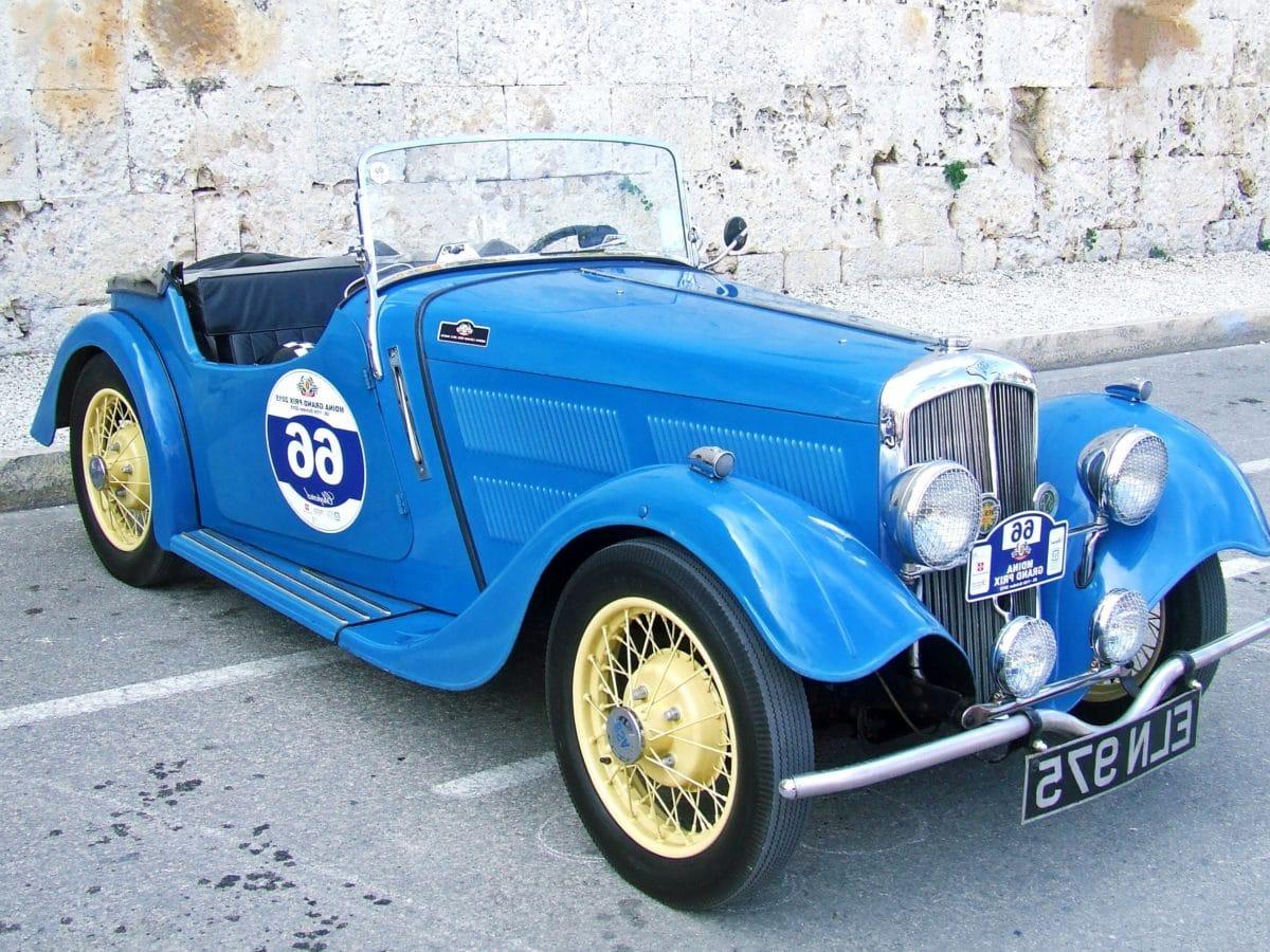 blue, oldtimer car, vehicle, retro, asphalt, classic automobile, wheel