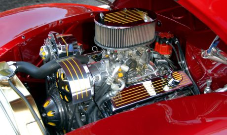 fordon, bil motor, metalldel, krom, garage, klassisk bil, dieselmotor