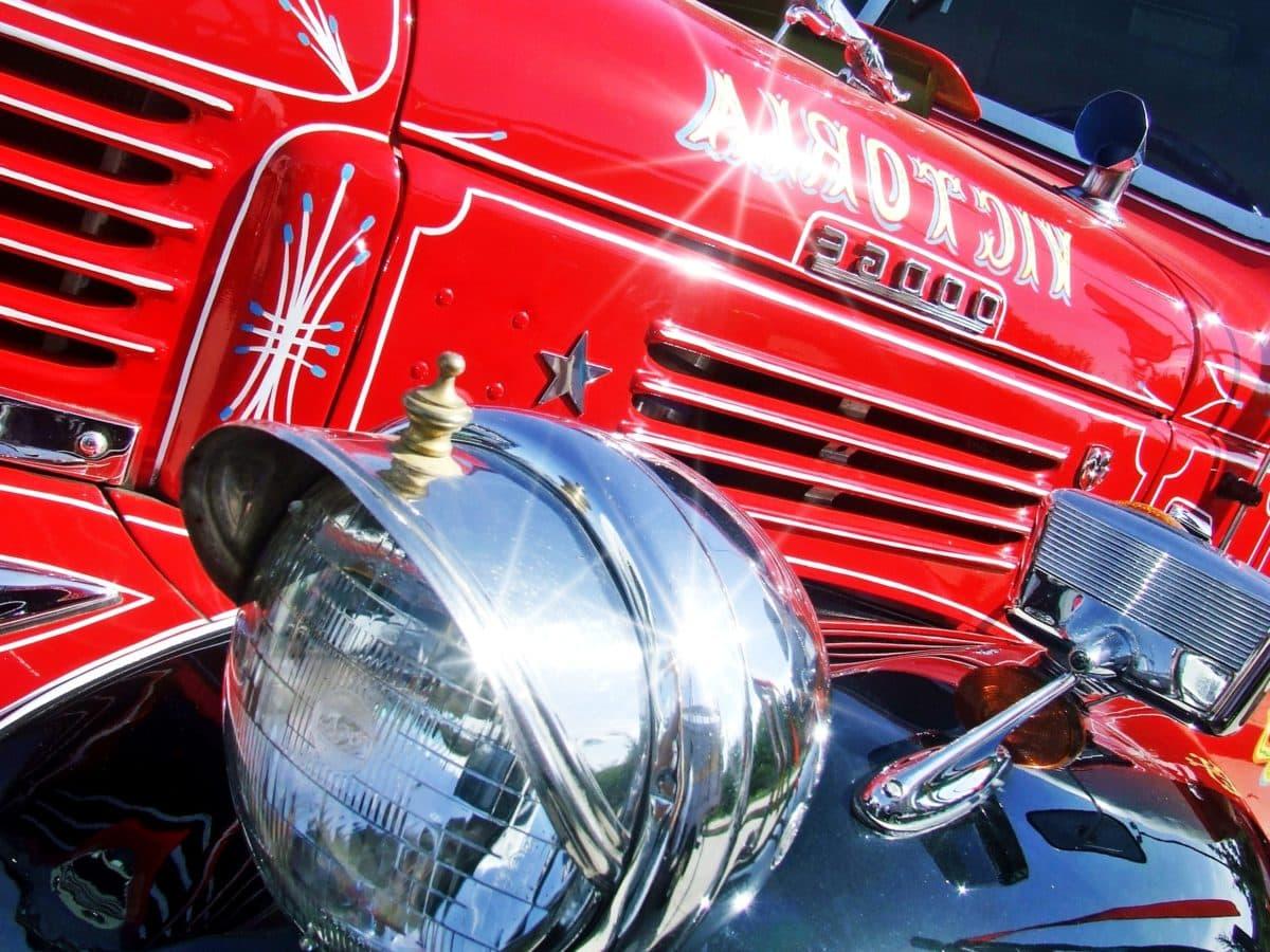 red, classic car, vehicle, headlight, chrome, red, car bumper, sunshine