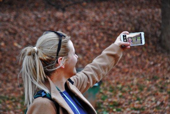 fotograf, žena, pekná holka, autoportrét, osoba, vonkajšie, pozemné