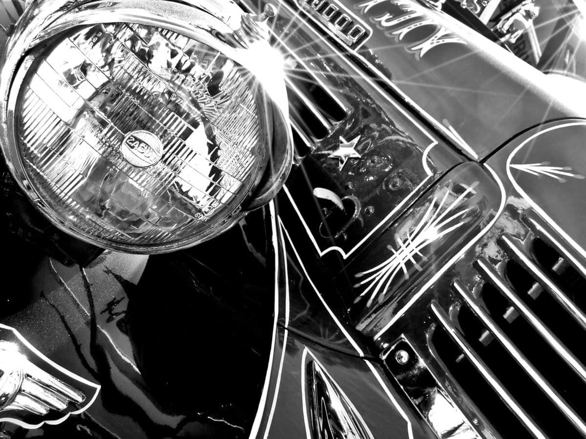 oldtimer car, technology, vehicle, headlight, chrome, monochrome, retro