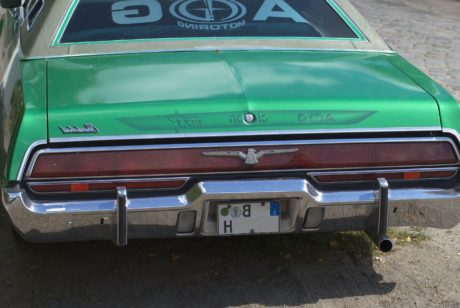 road, green car, vehicle, auto, transportation, oldtimer automobile, bumper