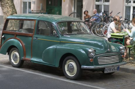 vehicle, oldtimer car, green automobile, transportation, transport, street