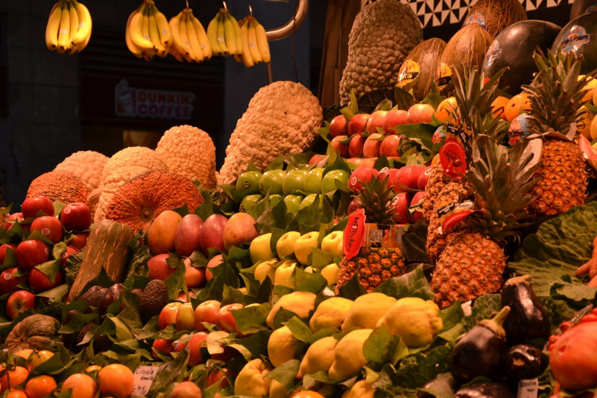 fruta, mercado, alimento, abóbora, vegetal, banana, decoração, colorida