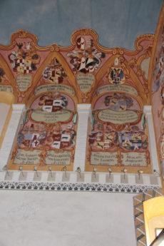kryty, średniowieczny, zamek w Lublanie, Słowenia, zamek, sufit, sztuka, malarstwo, sztuk pięknych