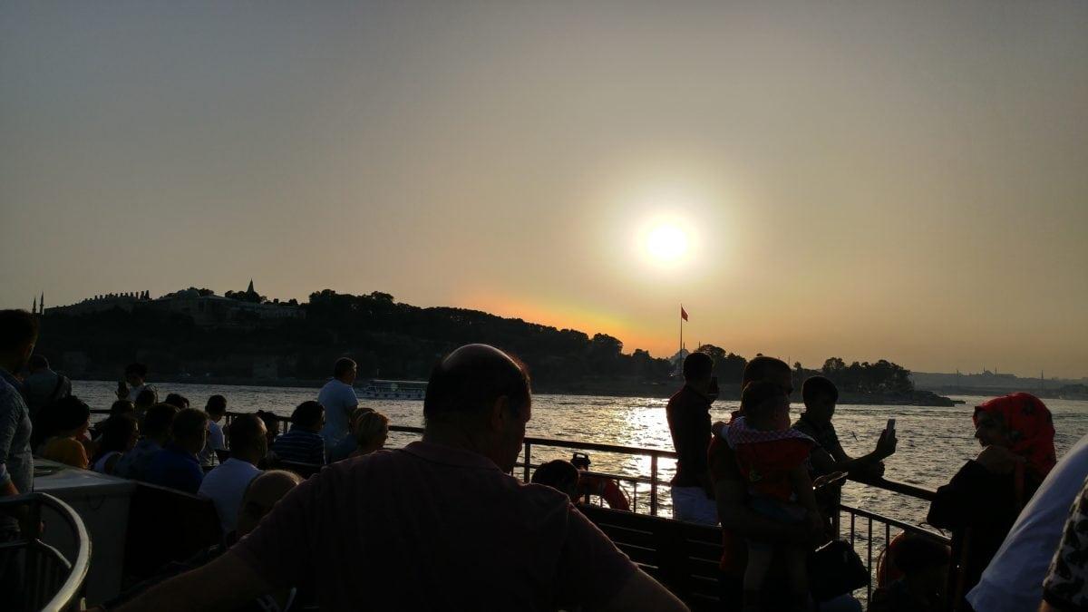 dawn, vehicle, lake, town, Istanbul, sunset, people, water, watercraft