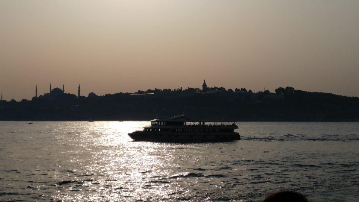 ocean, tugboat, water, silhouette, beach, sea, vehicle, watercraft, dawn, sunset