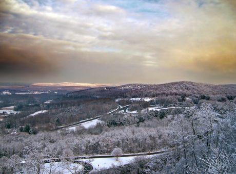 하늘, 풍경, 자연, 겨울, 눈, 언덕, 산, 야외