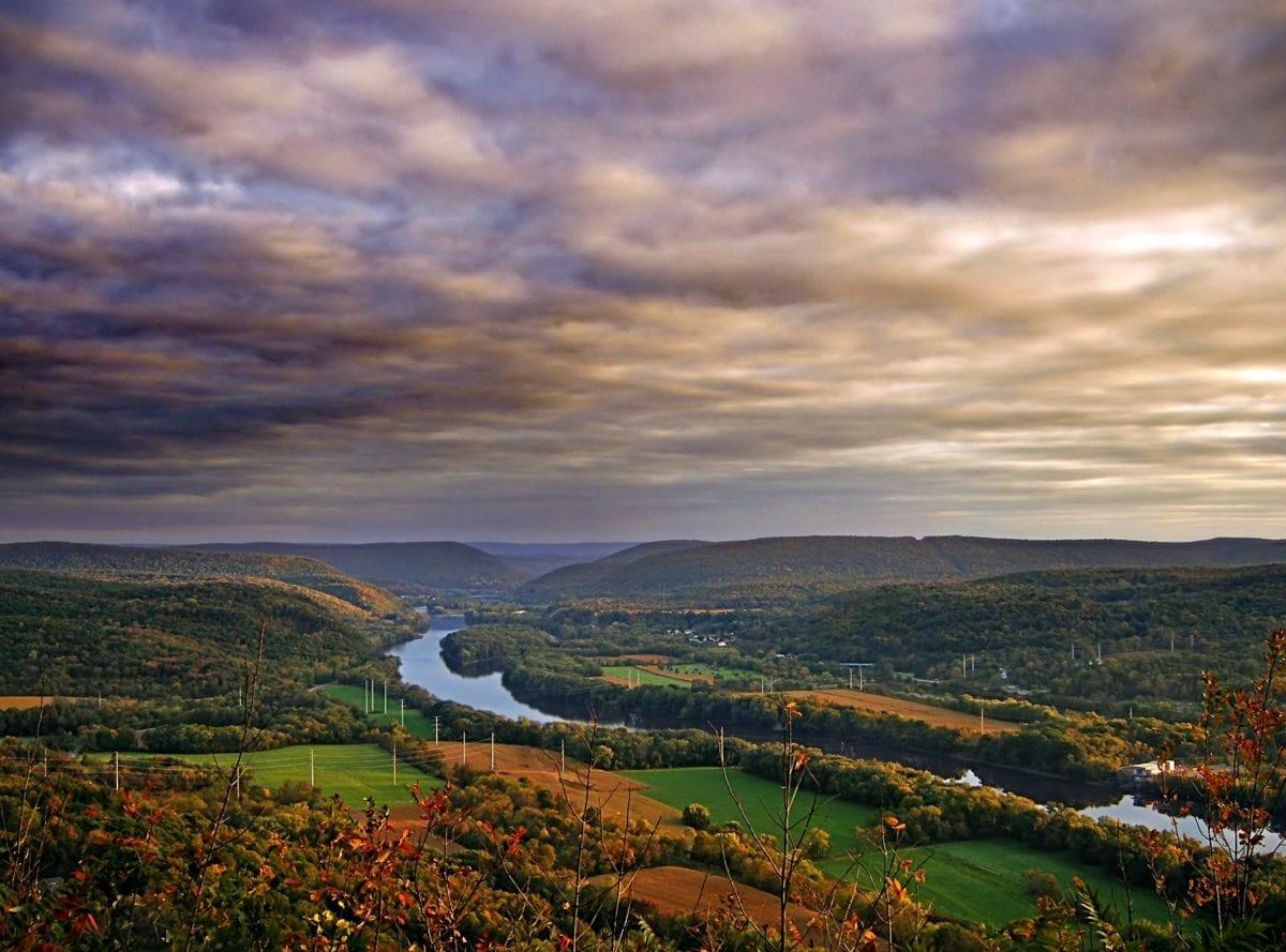 krajina, obloha, příroda, údolí, řeka, západ slunce, voda, krajina, tráva