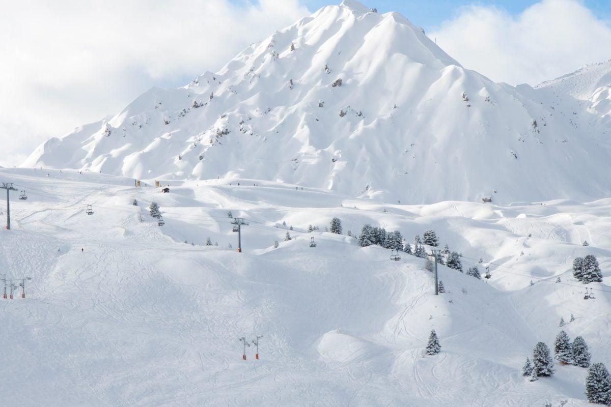 Inverno, neve, pico de montanha, frio, geleira, gelo, paisagem, céu azul, geologia