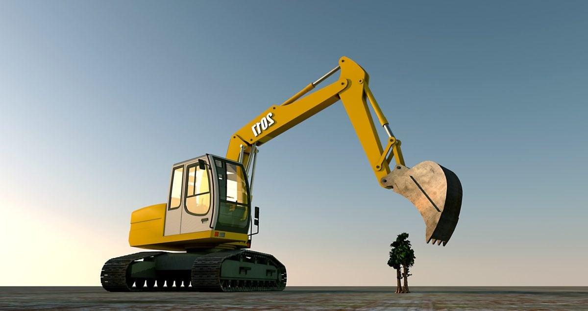 Maschine, Bagger, Industrie, Bau, Person