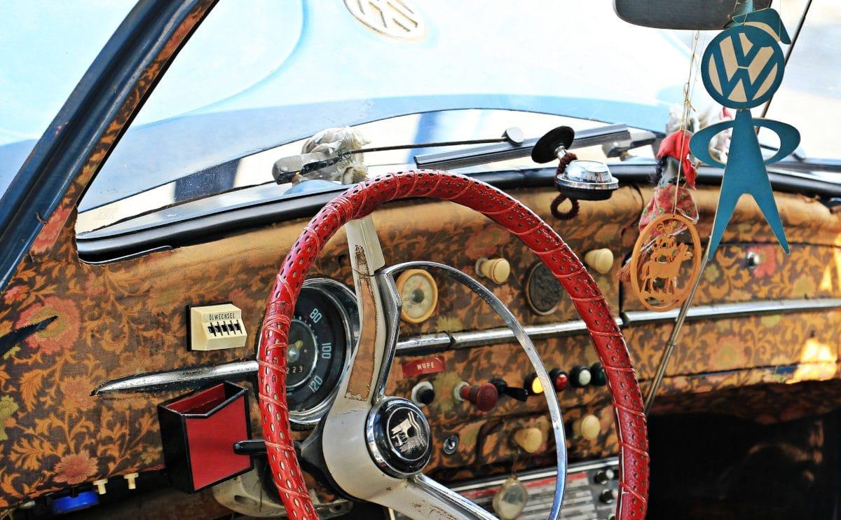 dashboard, windshield, wheel, old car, vehicle, helm, mechanism, transportation
