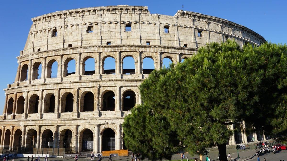 Architektura, středověká, Řím, Itálie, Koloseum, stadion, obloha, starověký, pevnost, starý, kámen
