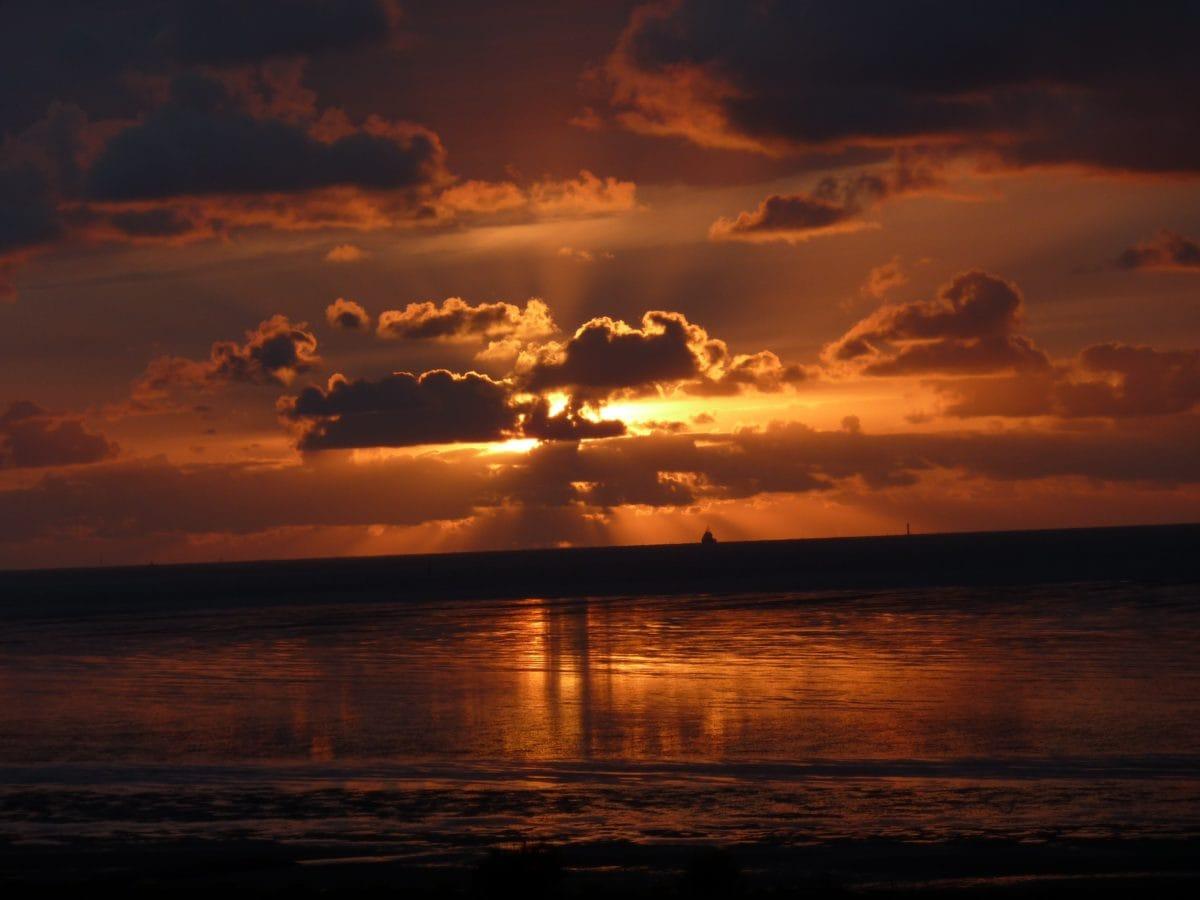 sunset, dusk, dawn, sun, water, red sky, landscape, sunrise, ocean