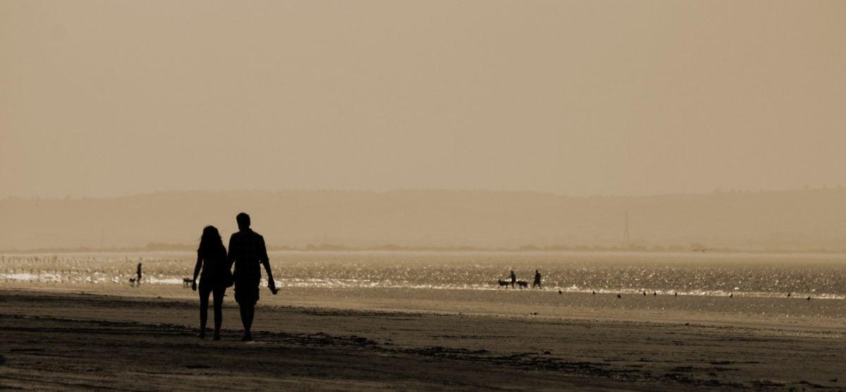 mlha, moře, krajina, lidé, svítání, voda, oceán, pláž, západ slunce