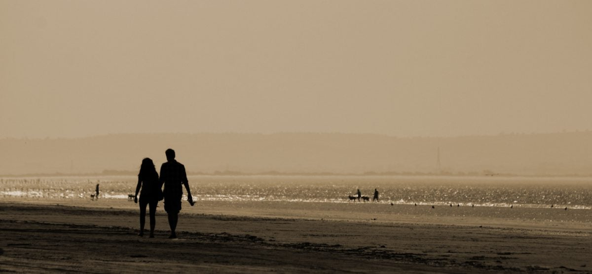 fog, sea, landscape, people, dawn, water, ocean, beach, sunset