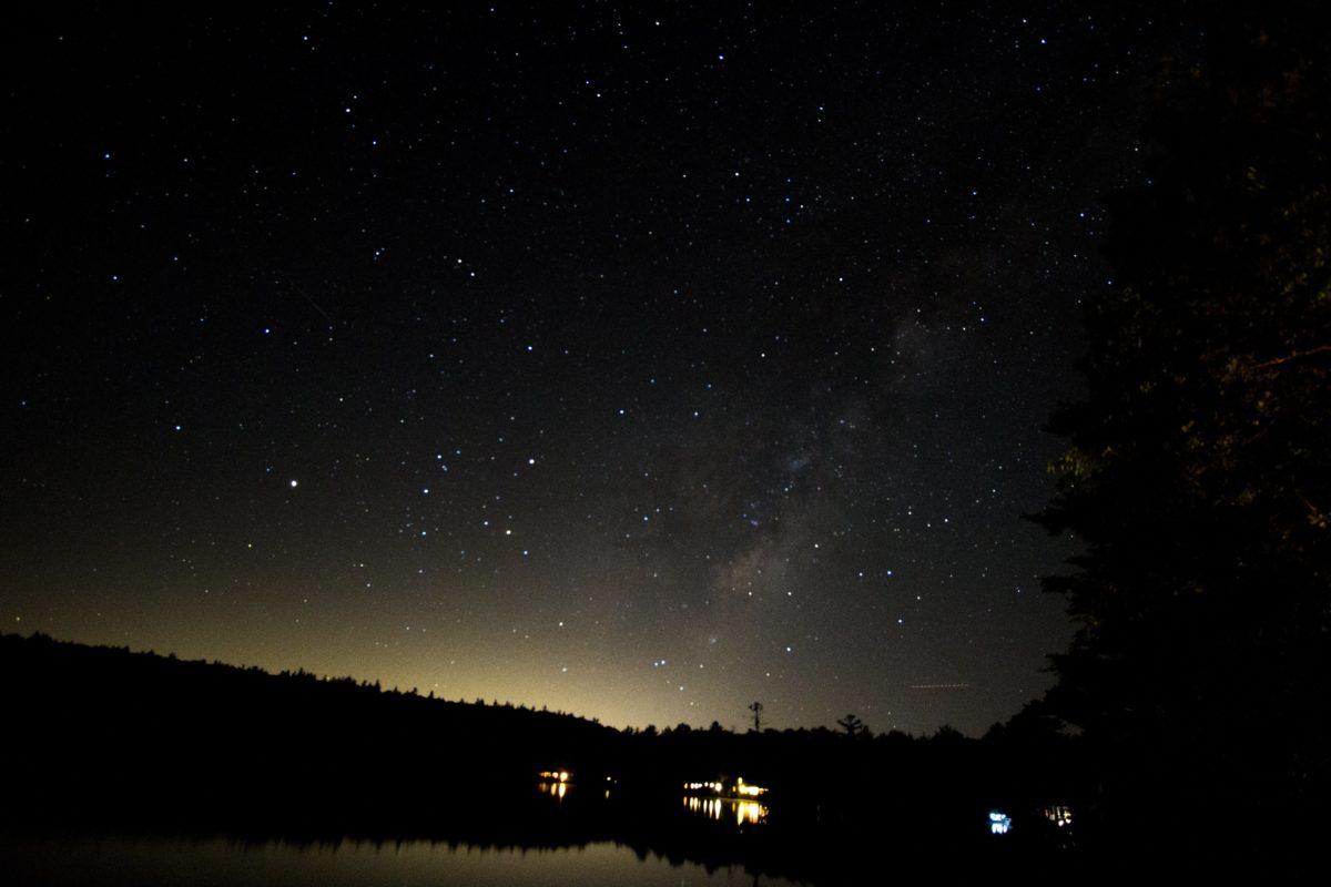 Galaxia, Luna, astronomía, constelación, cielo, oscuridad, noche, oscuridad, colinas