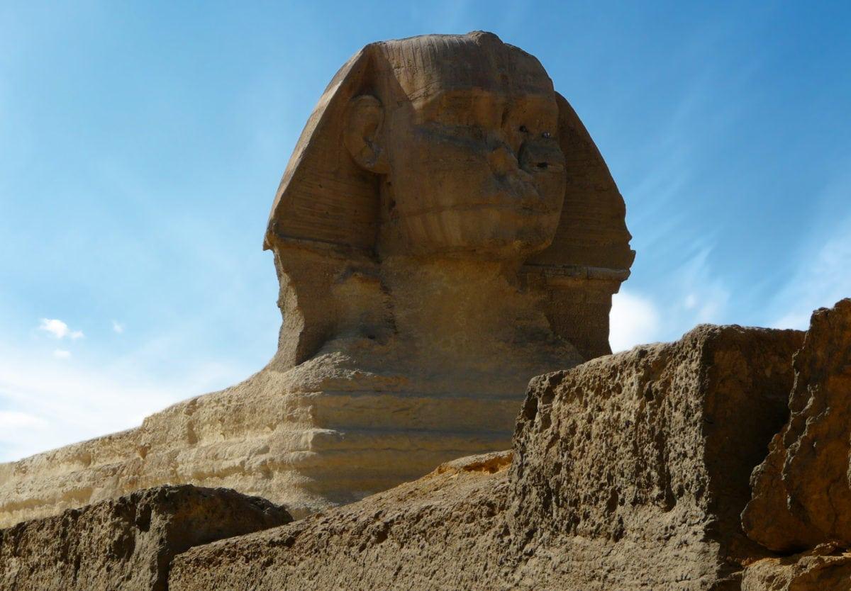 Egypt, landmark, desert, megalith, stone, memorial, landscape, ancient, blue sky