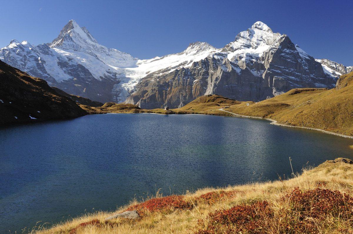 lake, landscape, glacier, mountain peak, snow, water,blue sky, outdoor