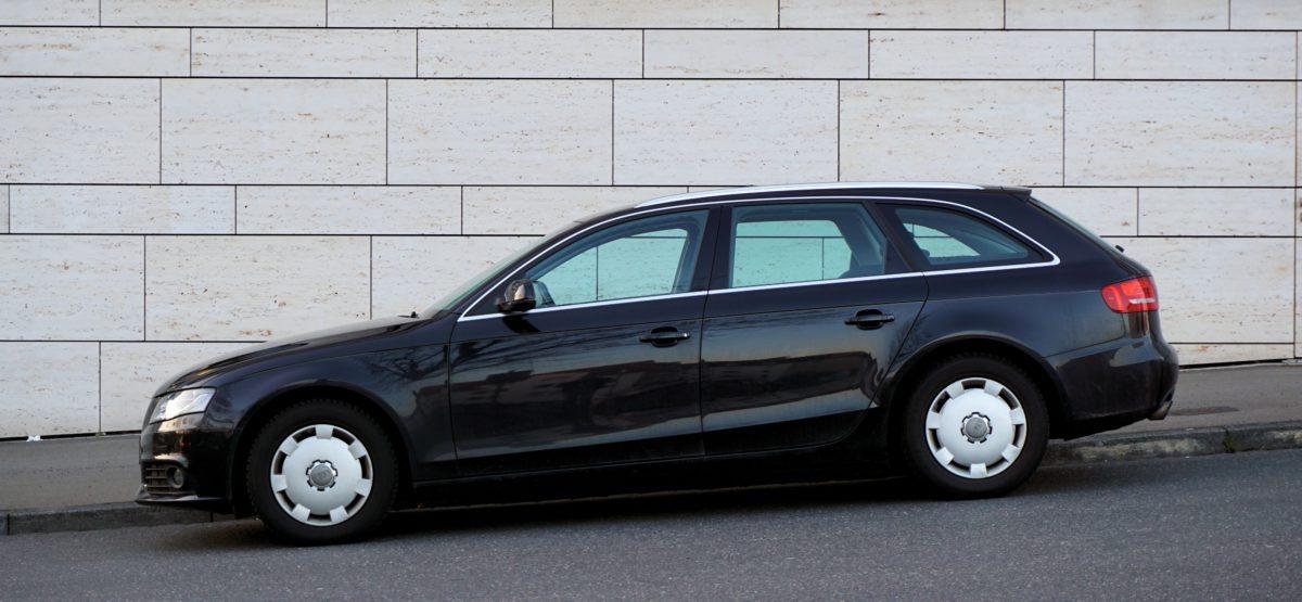 vehicle, wheel, drive, automotive, black car, automobile, street, wall