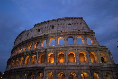 sky, Colosseum, Rome, Italy, tourist attraction, architecture, ancient, palace, dusk, facade, dome, residence