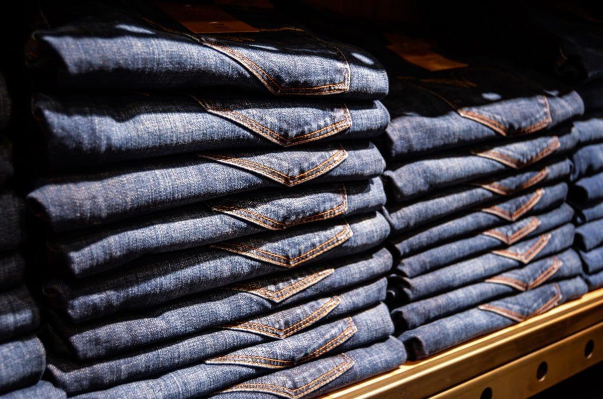 textil, blue jeans, cloth, shopping, shop, shelf, blue