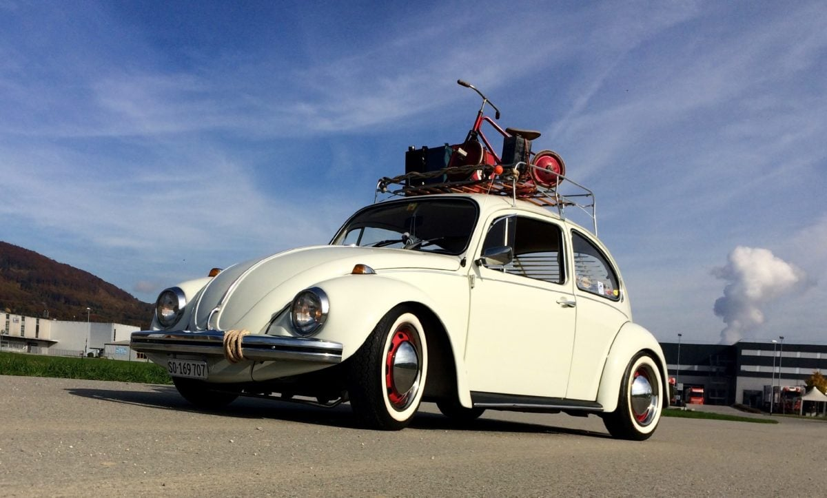 old car, vehicle, transportation, automobile, speed, asphalt, blue sky