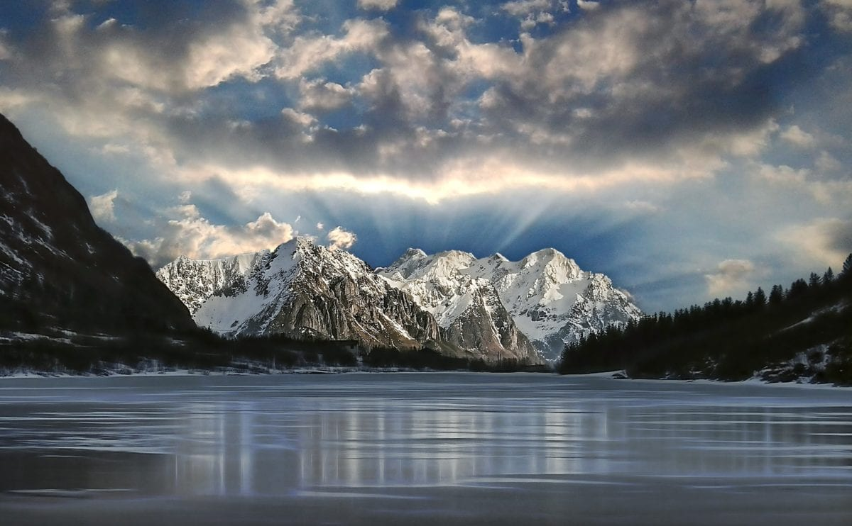 nature, lake, snow, mountain peak, landscape, water, glacier, blue sky