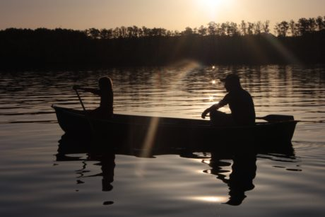 backlit, silhouette, canoe, sunset, water, people, reflection, dawn, lake