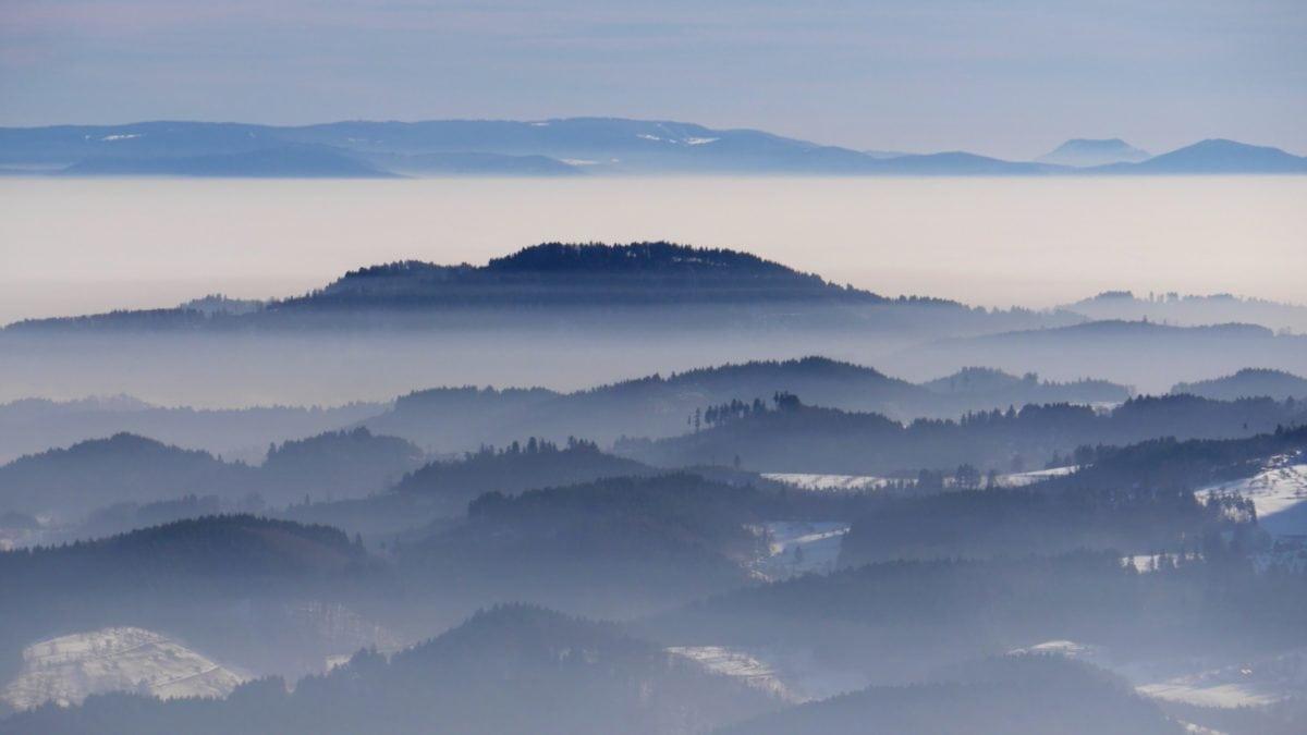 φύση, τοπίο, ουρανός, κορυφή βουνών, ομίχλη, χιόνι, Χειμώνας, Υπαίθριος