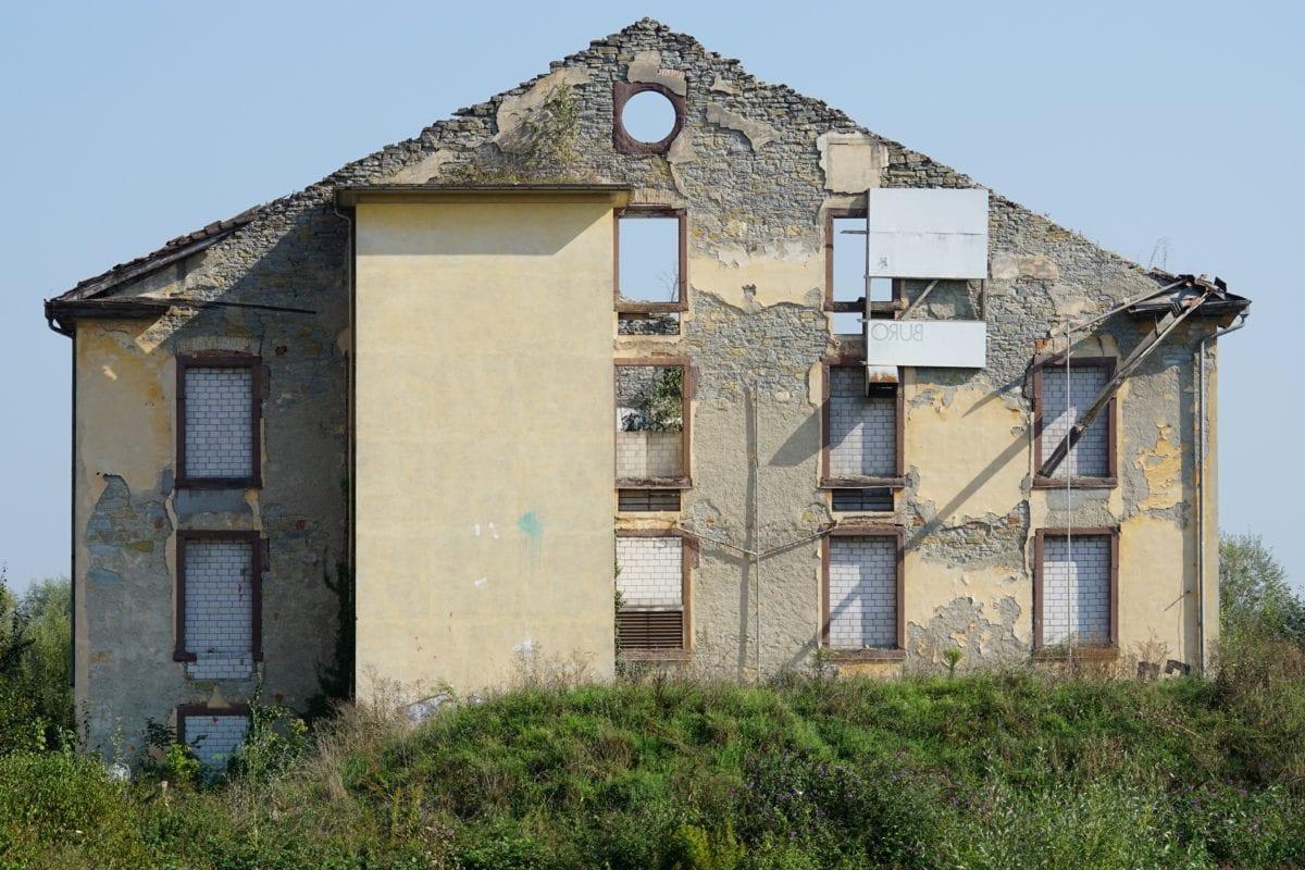 terremoto, architettura, vecchio, rovina, casa, muro, mattone, tetto, all'aperto