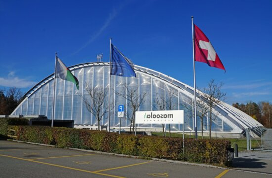 architecture, structure, extérieur, drapeau, stationnement, ciel, bâtiment, verre, moderne