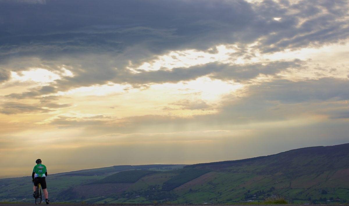 sky, mountain climbing, landscape, sunset, mountain, hike, land, person, outdoor